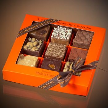 Box of 9 assorted chocolate fudge squares - 320 grs