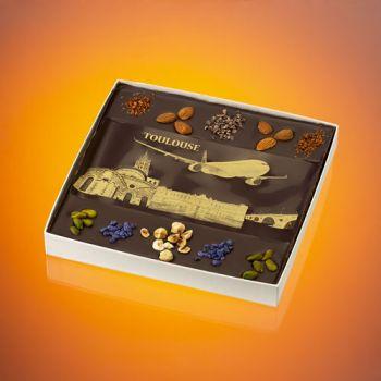 Tableau en chocolat Avion vue de Toulouse T3