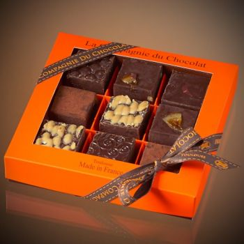 Box of 9 assorted dark chocolate fudge squares