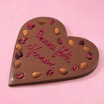 Coeur en chocolat au lait Bonne fête Maman