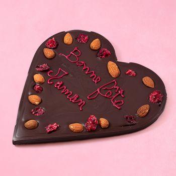 Coeur en chocolat noir Bonne fête Maman