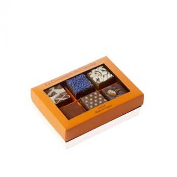 Boite de 6 fudges chocolat assortis - 210 grs