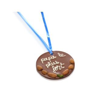 Petite Médaille en chocolat au lait Papa le plus fort