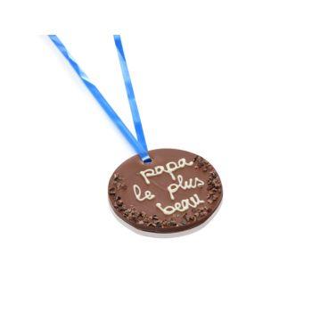 Petite Médaille en chocolat au lait Papa le plus beau