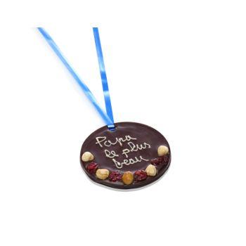 Petite Médaille en chocolat noir Papa le plus beau