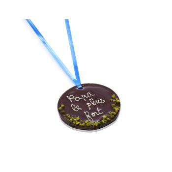 Petite Médaille en chocolat noir Papa le plus fort