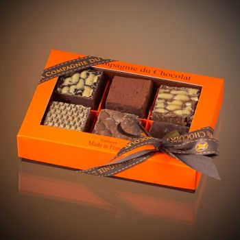 Box of 6 assorted chocolate fudge squares  - 210 grs