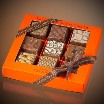 Box of 9 assorted milk chocolate fudge squares