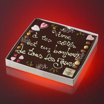 Tableau VIVRE A TES COTES EST UN BONHEUR DE TOUS LES JOURS Chocolat noir