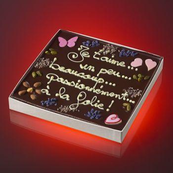 Tableau JE T'AIME UN PEU, BEAUCOUP, PASSIONNEMENT, A LA FOLIE Chocolat noir