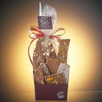 COMPOSITION DE 350 GRS DE FEUILLES DE CHOCOLAT LAIT