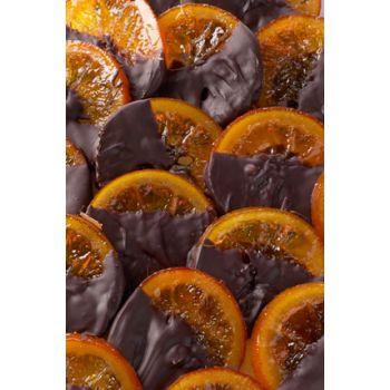 Rondelles d'oranges enrobées de chocolat noir